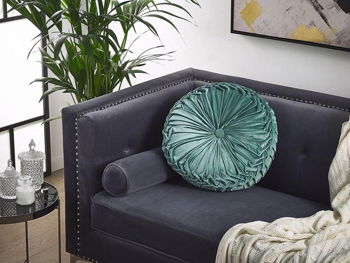 Poduszka dekoracyjna zielona plisowana okrągła 40 cm z wypełnieniem ozdobna akcesorium salon sypialnia Poliester Okrągłe Kategoria Poduszki i poszewki dekoracyjne Wzór Orientalny