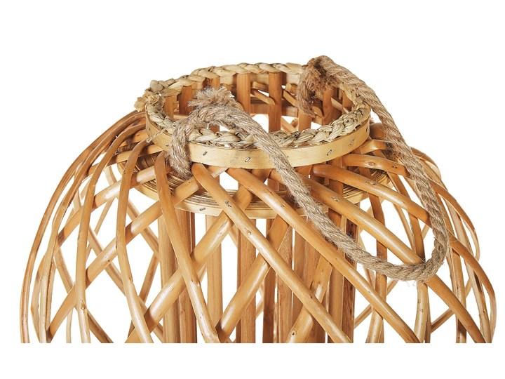 Lampion dekoracyjny jasne drewno 41 cm ozdobna latarnia na świecę Kategoria Świeczniki i świece Szkło Kolor Beżowy