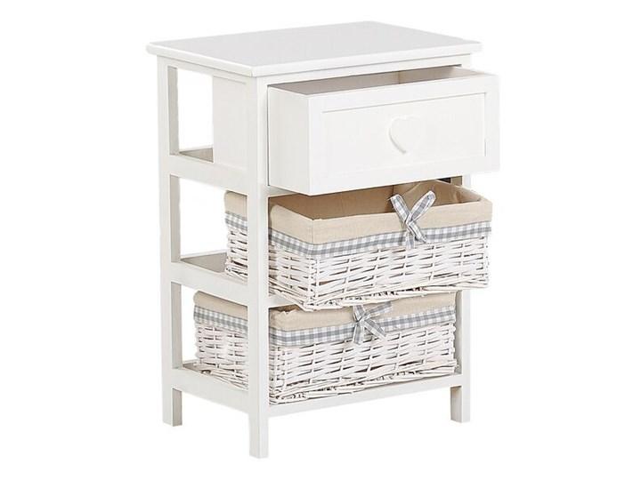 Szafka biało drewno MDF 58 x 40 cm szuflada i dwa plecione wiklinowe kosze z beżowa wyściółką stolik nocny do sypialni pokoju dziecięcego Płyta MDF Kolor Biały