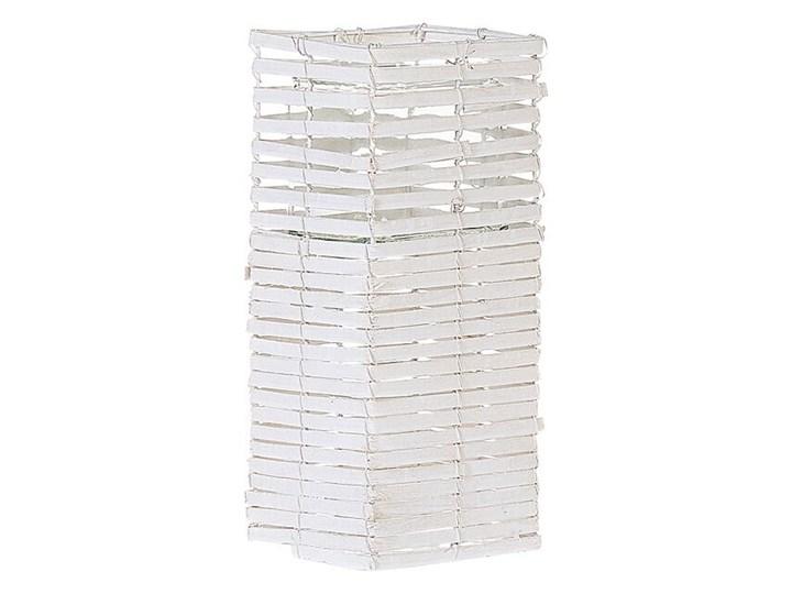 Zestaw 3 świeczników białe drewniane kwadratowe wysokie różne rozmiary boho design szklany pojemnik Metal Kolor Biały Drewno Szkło Żelazo Kategoria Świeczniki i świece