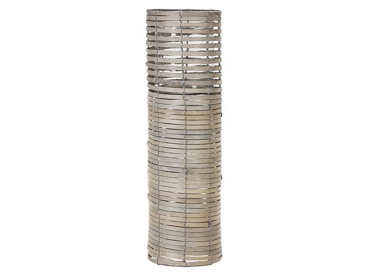 Zestaw 3 świeczników jasne drewno kwadratowe wysokie różne rozmiary boho design szklany pojemnik Kategoria Świeczniki i świece Żelazo Szkło Metal Kolor Beżowy