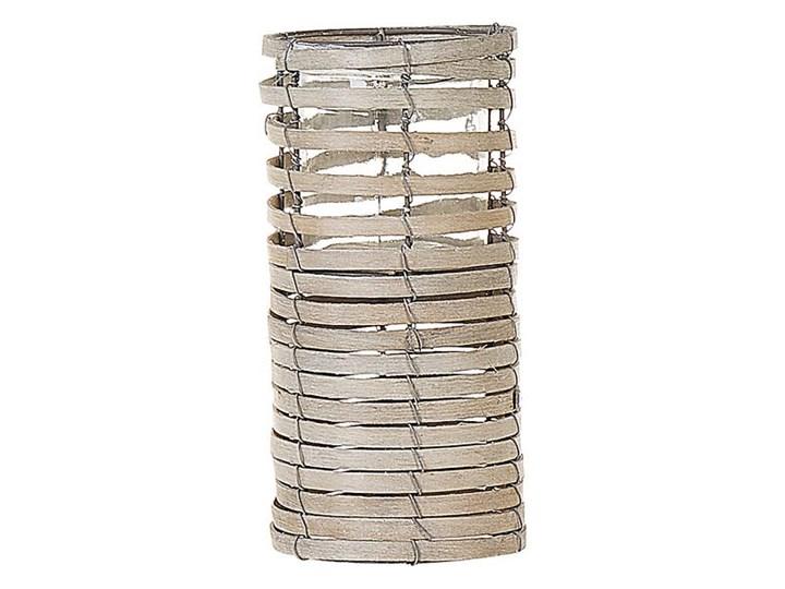 Zestaw 3 świeczników jasne drewno kwadratowe wysokie różne rozmiary boho design szklany pojemnik Metal Szkło Żelazo Kategoria Świeczniki i świece