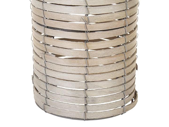Zestaw 3 świeczników jasne drewno kwadratowe wysokie różne rozmiary boho design szklany pojemnik Kategoria Świeczniki i świece Szkło Metal Żelazo Kolor Beżowy