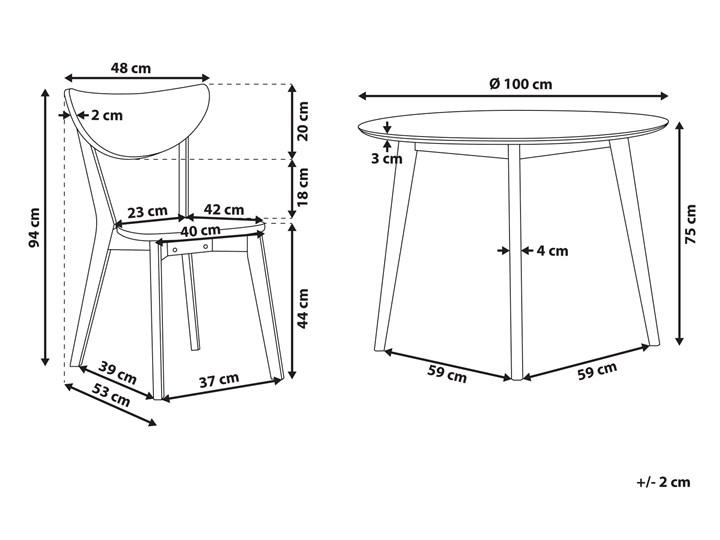 Zestaw do jadalni biały płyta MDF okrągły stół z 4 krzesłami komplet mebli kuchennych Pomieszczenie Salon