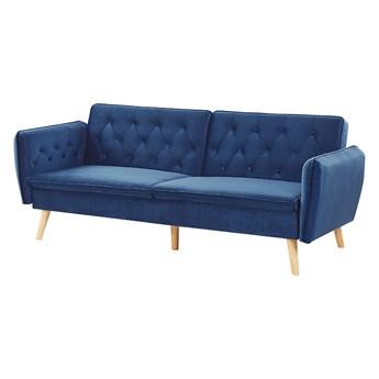 Sofa rozkładana niebieska welurowa tapicerowana kanapa z funkcją spania dekoracyjne guziki nowoczesny styl