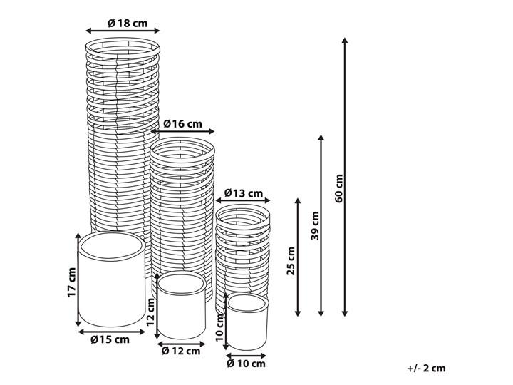 Zestaw 3 świeczników jasne drewno kwadratowe wysokie różne rozmiary boho design szklany pojemnik Metal Szkło Kategoria Świeczniki i świece Żelazo Kolor Beżowy