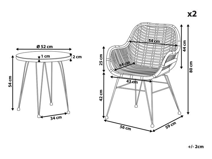 Zestaw balkonowy brązowy rattanowy 2 krzesła 1 stół ze szklanym blatem nowoczesny Stoły z krzesłami Stal Technorattan Liczba miejsc Dwuosobowy Kolor Czarny