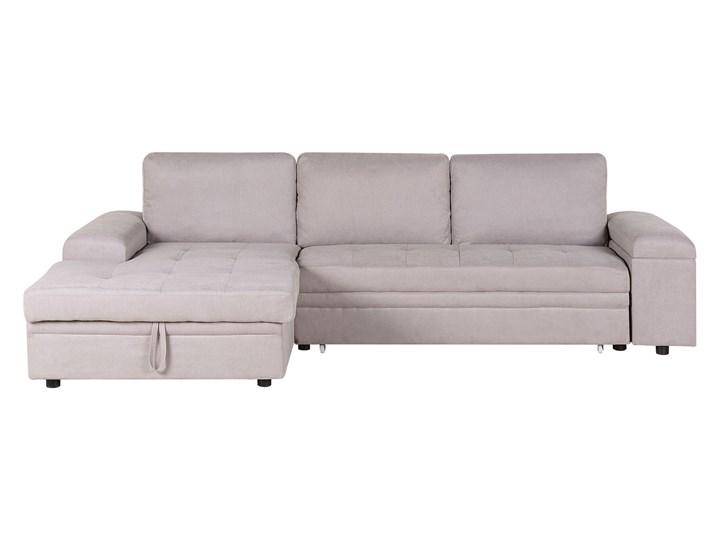 Narożnik rozkładany jasnoszary sofa narożna do salonu kanapa z funkcją spania z pojemnikiem skandynawska Nóżki Bez nóżek W kształcie L Typ Gładkie