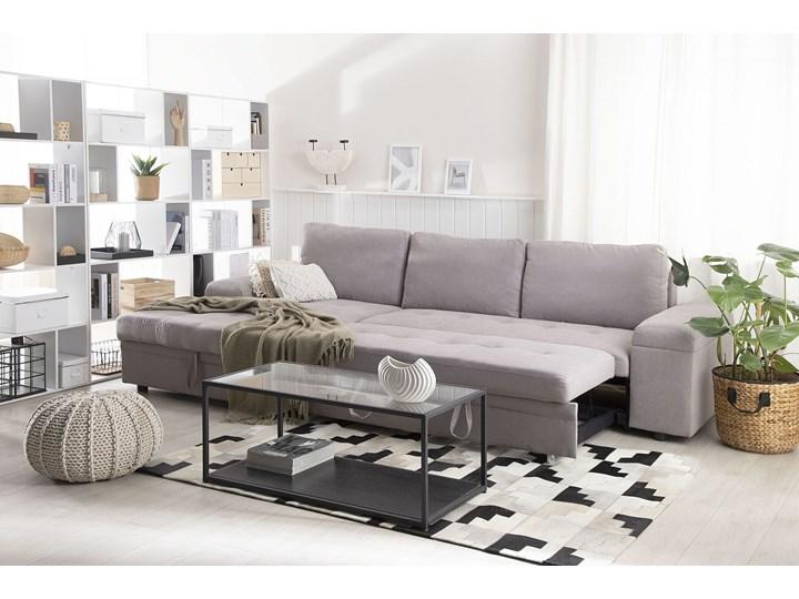 Narożnik rozkładany jasnoszary sofa narożna do salonu kanapa z funkcją spania z pojemnikiem skandynawska W kształcie L Nóżki Bez nóżek