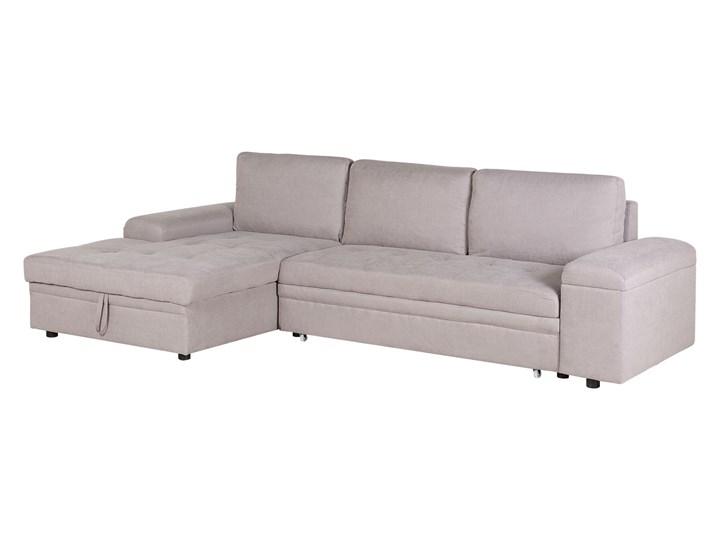 Narożnik rozkładany jasnoszary sofa narożna do salonu kanapa z funkcją spania z pojemnikiem skandynawska W kształcie L Typ Gładkie
