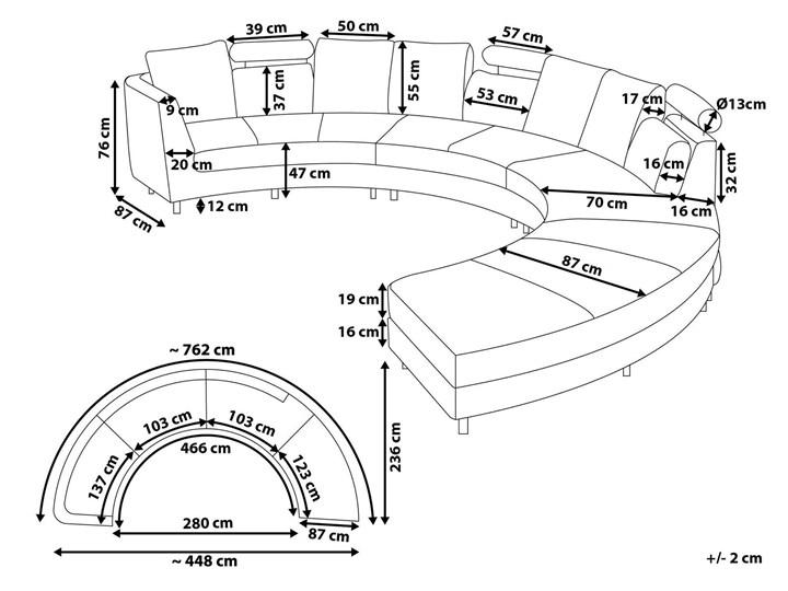 Sofa półokrągła kremowa skórzana 8 miejsc moon salon duży pokój nowoczesna Szerokość 448 cm Kategoria Narożniki Stała konstrukcja Kolor Beżowy