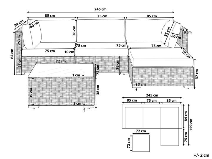 Zestaw mebli ogrodowych szary technorattan 4-osobowy narożnik szare poduchy stolik Zestawy kawowe Zestawy wypoczynkowe Styl Nowoczesny Aluminium Zestawy modułowe Tworzywo sztuczne Kategoria Zestawy mebli ogrodowych