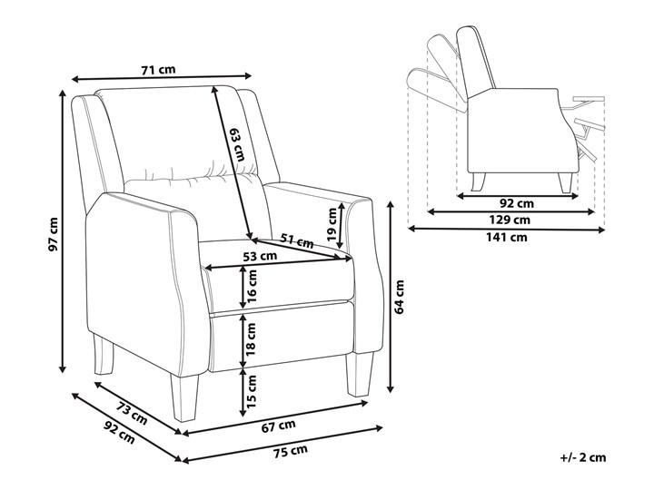Rozkładany fotel telewizyjny szary tapicerownany welurem rozkładane oparcie i podnóżek retro design Tworzywo sztuczne Tkanina Fotel inspirowany Drewno Pomieszczenie Salon Fotel rozkładany Styl Nowoczesny
