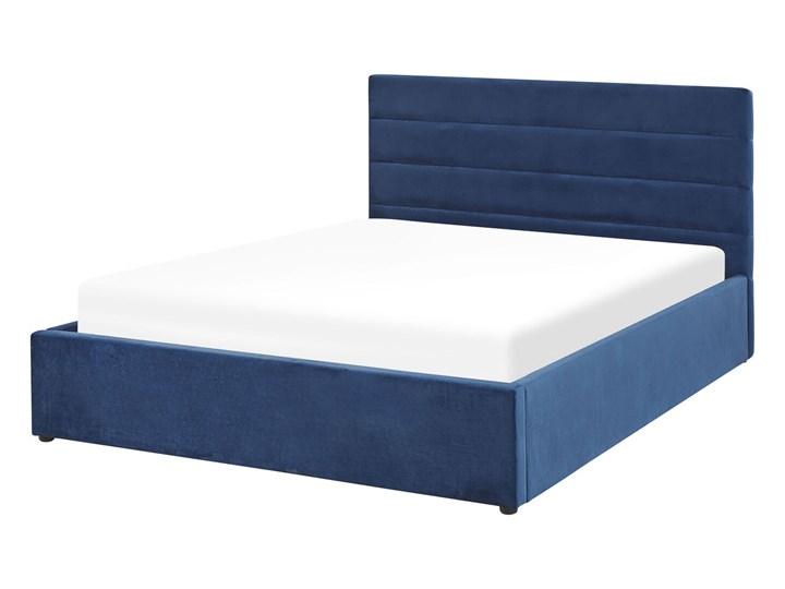 Łóżko ciemnoniebieskie welurowe 140 x 200 cm z pojemnikiem ze stelażem prostokątny zagłówek glamour