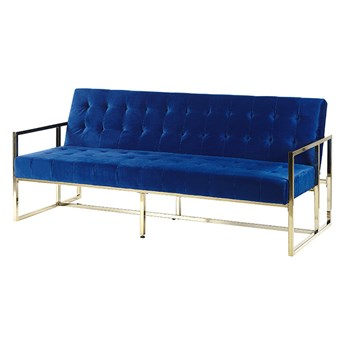 Sofa rozkładana niebieska welurowa pikowana tapicerka 3-osobowa ze złotą ramą w stylu retro