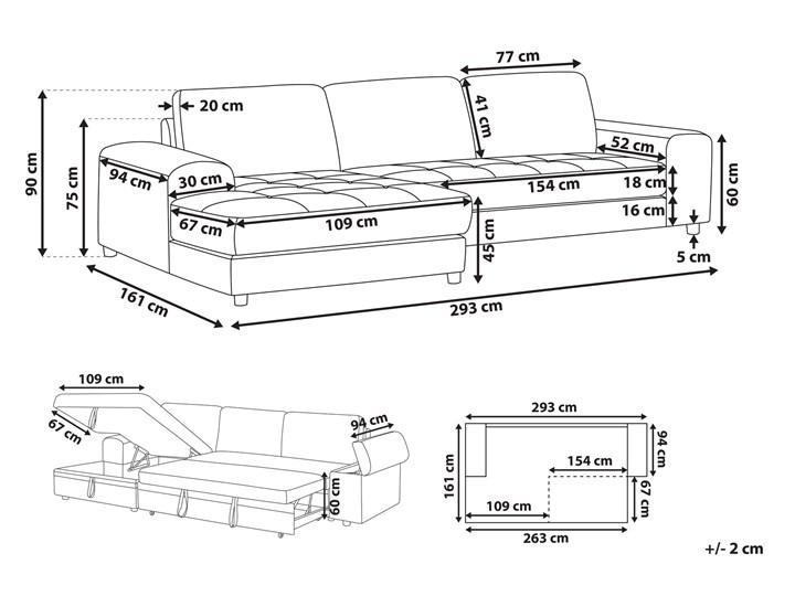 Narożnik rozkładany jasnoszary sofa narożna do salonu kanapa z funkcją spania z pojemnikiem skandynawska W kształcie L Styl Skandynawski
