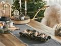 Świecznik zielony drewniany plastikowy z szyszkami i gałązkami na 4 świeczki świąteczny tradycyjny design Drewno Kategoria Świeczniki i świece