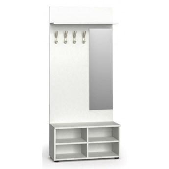 Garderoba z szafką na buty i lustrem, 4 haczyki PRIMO, półka, biały