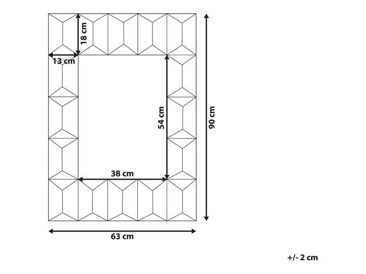 Lustro ścienne wielokolorowe drewniana prostokątna rama  63 x 90 cm ręcznie wykonane postarzane boho Lustro z ramą Prostokątne Pomieszczenie Salon Styl Klasyczny
