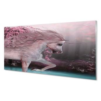 Obrazy akrylowe Jednorożec drzewa jezioro