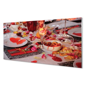 Obrazy akrylowe Serca płatki róż kolacja kieliszki