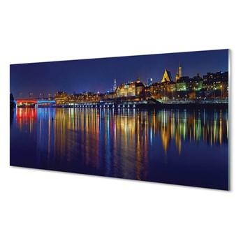 Obrazy akrylowe Warszawa Rzeka most noc miasto