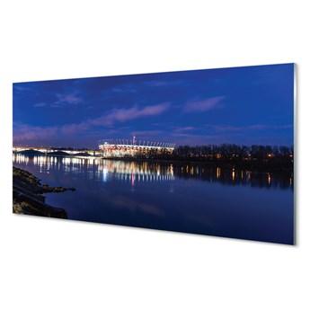 Obrazy akrylowe Warszawa Rzeka most noc stadion