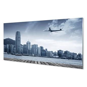 Obrazy akrylowe Samolot miasto chmury