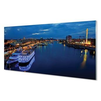 Obrazy akrylowe Statek morze miasto nocą niebo