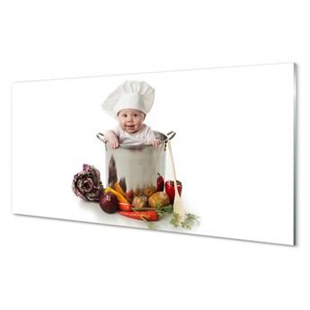 Obrazy akrylowe Dziecko w garnku warzywa