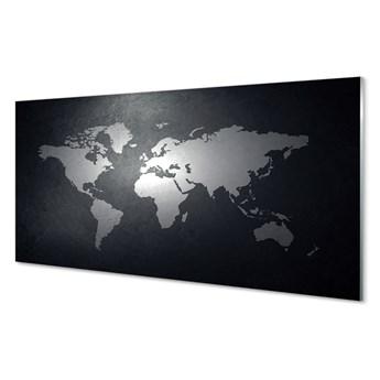 Obrazy akrylowe Czarne tło biała mapa