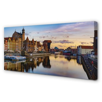 Obrazy na płótnie Gdańsk Port rzeka wschód słońca