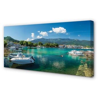 Obraz na płótnie Grecja Przystań morze góry