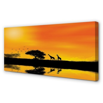 Obraz na płótnie Żyrafy zachód drzewo jezioro