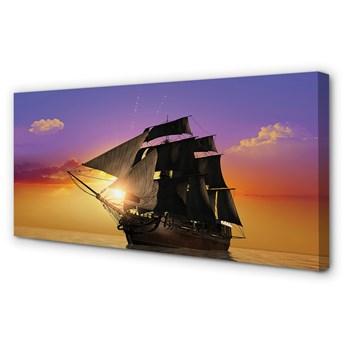 Obraz na płótnie Kolorowe niebo statek morze