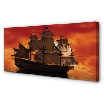 Obraz na płótnie Statek pomarańczowe niebo morze