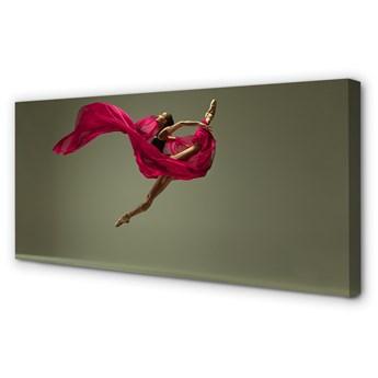 Obrazy na płótnie Kobieta szpagat różowy materiał