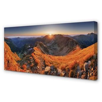 Obraz na płótnie Góry zachód słońca