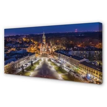 Obraz na płótnie Kraków Noc kościół panorama