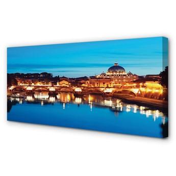 Obrazy na płótnie Rzym Rzeka mosty zachód słońca