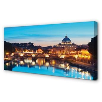 Obrazy na płótnie Rzym Zachód słońca rzeka mosty