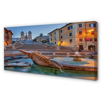 Obrazy na płótnie Rzym Zachód słońca fontanna budynki
