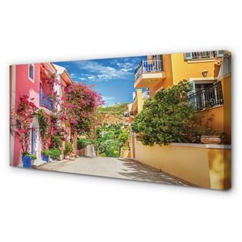 Obraz na płótnie Grecja Kwiaty budynki góra