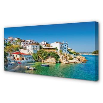 Obraz na płótnie Grecja Wybrzeże budynki morze