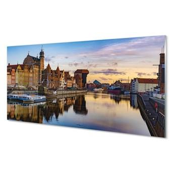 Obrazy na szkle Gdańsk Port rzeka wschód słońca