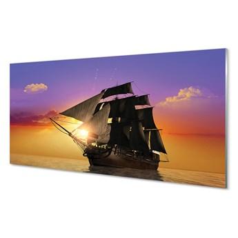 Obraz na szkle Kolorowe niebo statek morze