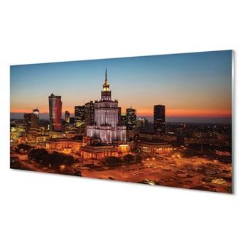 Obraz na szkle Warszawa Wieżowce noc panorama