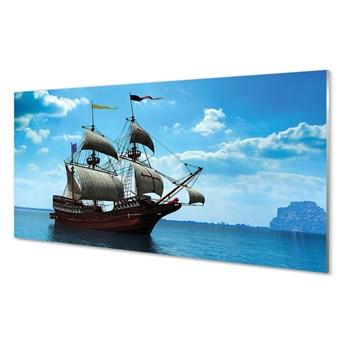 Obraz na szkle Statek niebo chmury morze