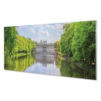 Obraz na szkle Warszawa Pałac jezioro las