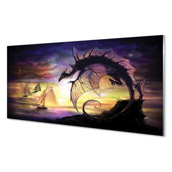 Obraz na szkle Smok morze statki chmury